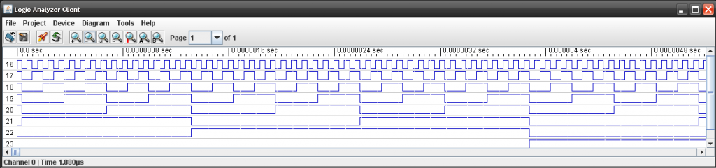 First Logic Sniffer Capture Showing Binary Counting Sequence