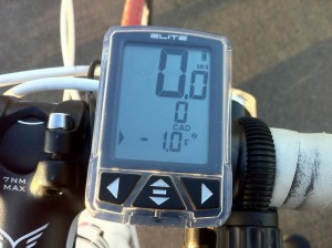 Cycle computer showing -1.0 deg C